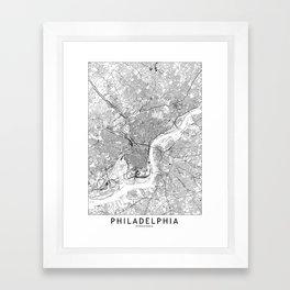 Philadelphia White Map Framed Art Print