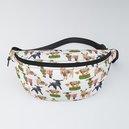 Christmas goats in sweaters repeating seamless pattern Fanny Pack