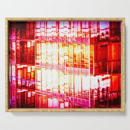 Red Reflections Cityscape Serving Tray
