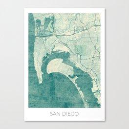 San Diego Map Blue Vintage Canvas Print