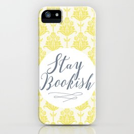 Stay Bookish vintage yellow background iPhone Case