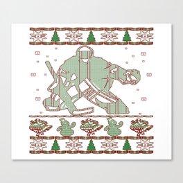 Hockey Goalie Christmas Canvas Print