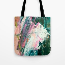 Meditate [2]: a vibrant, colorful abstract piece in bright green, teal, pink, orange, and white Tote Bag
