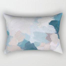 Turquoise Navy Blue Blush Pink Gray White Abstract Painting, Modern Wall Art, Digital Print Rectangular Pillow