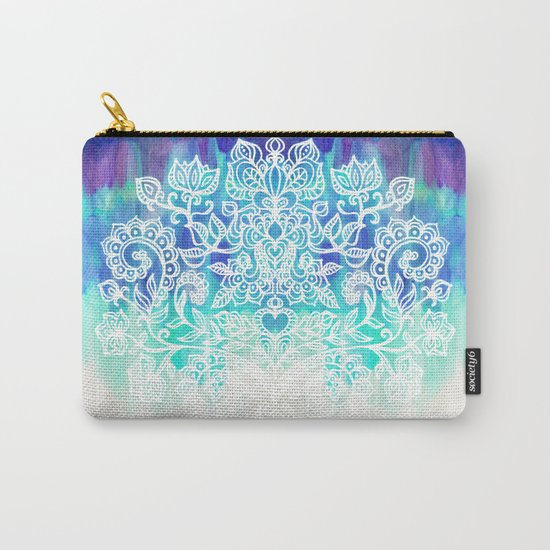 Indigo & Aqua Abstract - doodle painting Carry-All Pouch
