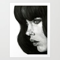 girl Art Prints featuring Girl by BlackNYX