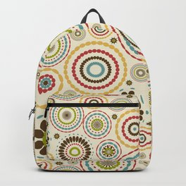 Vintage floral background with round flowers Backpack
