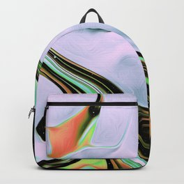 Verdun Iridescent Space Vaporwave Marble Abstract Background Green White Backpack