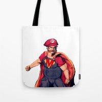 super mario Tote Bags featuring Super Mario by Mastodon
