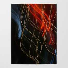 Abstract Drifting Light Trails Poster