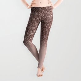 Rose Gold Glitter Ombre Leggings