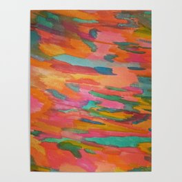 Rainbow Sherbet Abstract Painting Poster