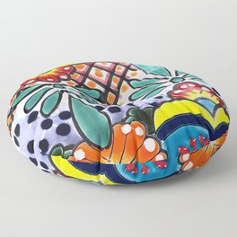 Colorful Talavera, Yellow Accent, Large, Mexican Tile Design Floor Pillow