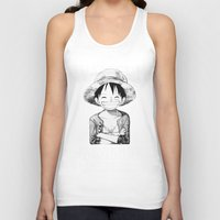 luffy Tank Tops featuring WANTED - Luffy by josemaHdeH