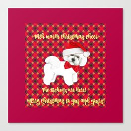 Bichon Frise red plaid christmas holiday themed pattern print pet friendly dog breed gifts Canvas Print