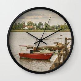 Fishing Boats at Santa Lucia River in Montevideo, Uruguay Wall Clock