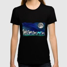 MOON CATS Black Womens Fitted Tee X-LARGE