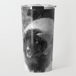Alpine sheep, black and white photography Travel Mug