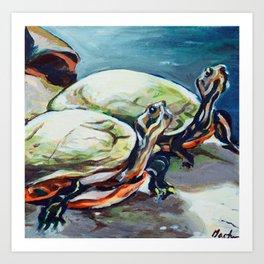 Brookside Turtles Art Print