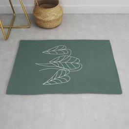 Boho Green Decor, Line Art Botanical Rug