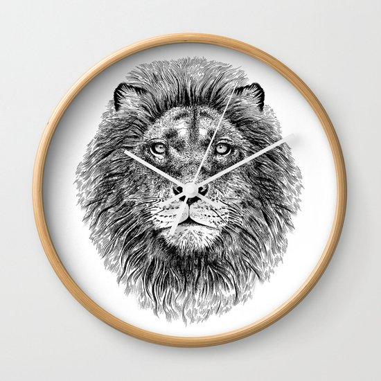 Black+White Lion Wall Clock