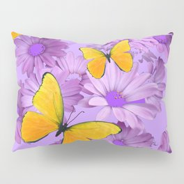 Yellow Butterflies Pinkish Lilac Color Purple Daisy Flowers Pillow Sham