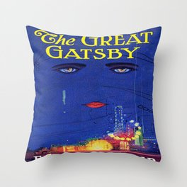The Great Gatsby vintage book cover - Fitzgerald Throw Pillow