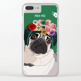 Frida-Pug Clear iPhone Case