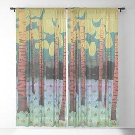 Tiger in Birchforest Sheer Curtain