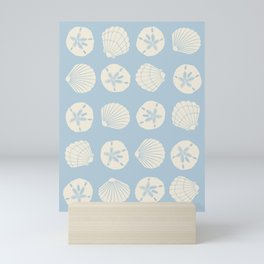 Sea Shells Gray Blue Mini Art Print