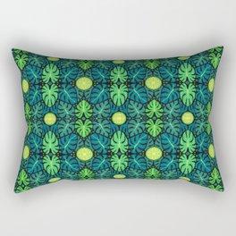 Monstera leaves, floral pattern, black, green & turquoise Rectangular Pillow