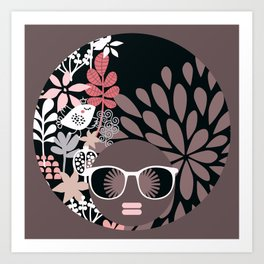 Afro Diva : Sophisticated Lady Pale Pink Peach Taupe Art Print
