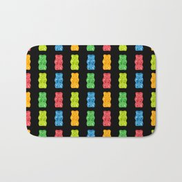 Rainbow Gummy Bears Pattern on Black Background Bath Mat