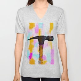 hammer with colorful painting abstract background in pink orange blue Unisex V-Neck