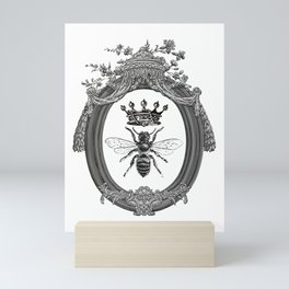 Queen Bee | Vintage Bee with Crown | Black, White and Grey | Mini Art Print