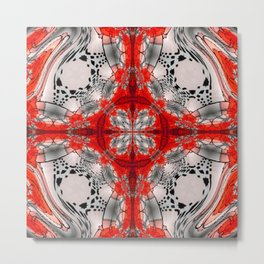 Red Warped Mandala Quadrants Metal Print