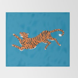 Blue Tiger Throw Blanket