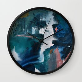 Exhilarated: a vibrant, abstract, mixed-media piece in greens and pinks by Alyssa Hamilton Art  Wall Clock