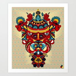 Elephant Flowers Art Print