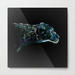 Blue Cheetah Metal Print