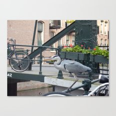 Crane on the Canal Canvas Print
