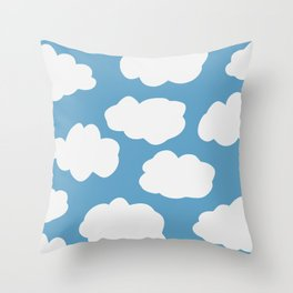 Blue Sky and Fluffy White Clouds Throw Pillow