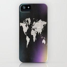 Newsprint World Map iPhone Case