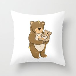 cute bears, father and son Throw Pillow