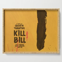 Kill Bill, Quentin Tarantino, minimal movie poster,  Uma Thurman, Lucy Liu, alternative film Serving Tray