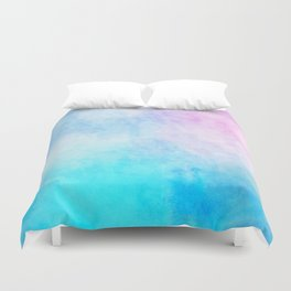 Baby Blue Pink Watercolor Texture Duvet Cover