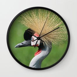 Crowned Crane Head Illustration Graphic Wall Clock