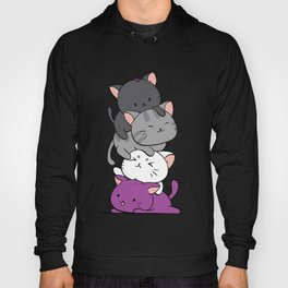 Asexual Pride Cats Anime - Ace Pride Cute Kitten Stack Hoody