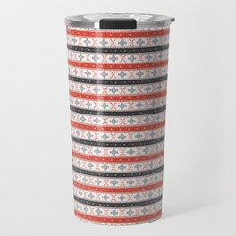 Traditional Romanian embroidery pixel Travel Mug