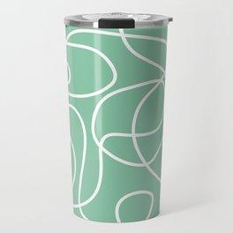 Doodle Line Art | White Lines on Bright Green Travel Mug